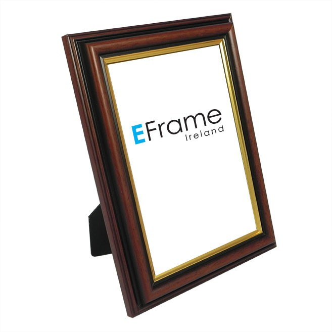 Photo Frame Brown Gold Line