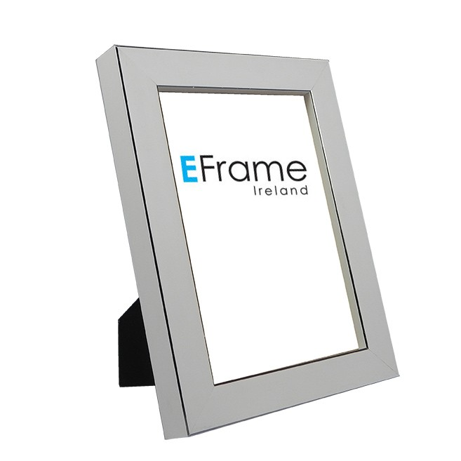 Photo Frame White Silver Line