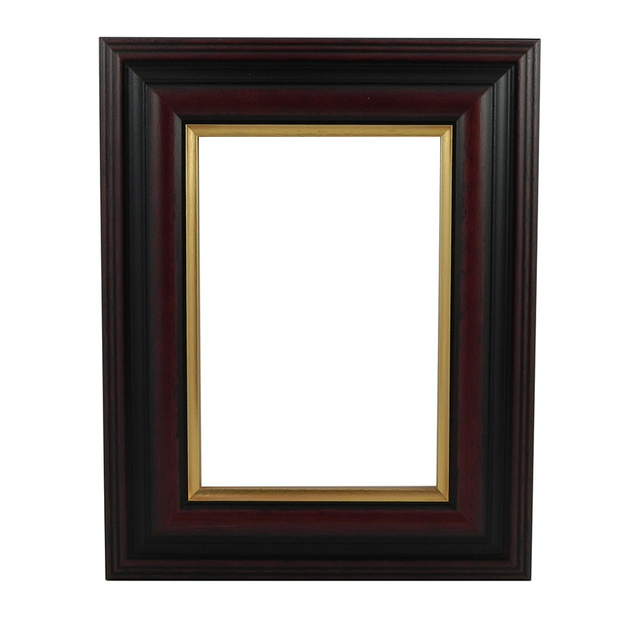 Brown With Gold Edge Wide picture frame - white background