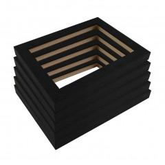 Picture Frame Open Grain Black 21 - 5 Pack