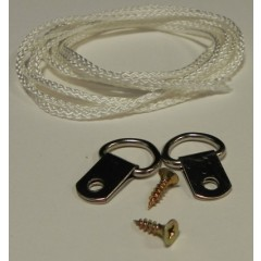 Picture Frame D-rings (x2) & 1 Mtr cord
