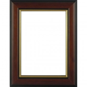 Picture Frame Dome Brown Medium Gold Line