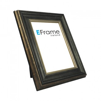 Photo Frame Antique Black Scoop Silver Line
